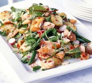 Image for Hot-smoked salmon salad with chilli lemon dressing